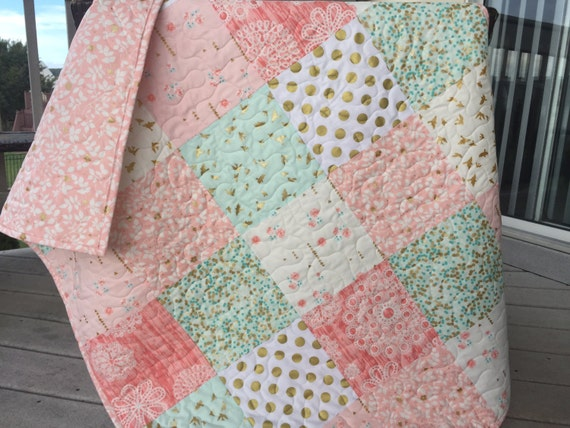 Brambleberry Ridge Baby Quilt Pink Mint Coral Gold Shimmer
