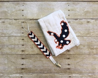 Eagle Burp Cloth & Pacifier Clip Set
