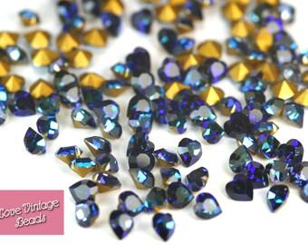 RARE! 6 x Swarovski Crystal Heliotrope Heart Stones 4884 Vintage Foiled 5.5 x 5mm