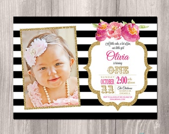 First Birthday Invitation Girl Floral Invitation Garden - Digital first birthday invitation