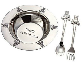 Personalized For Free Baby Silver Plated Spoon Fork and Bowl Keepsake New Baby Gift Baby Shower Gift