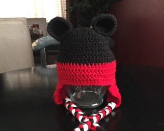 Mickey Mouse crochet hat with earflaps, Halloween, disney, mickey mouse, Disneyland, Disney World, baby shower gift, birthday gift