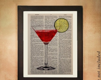 SALE - Ships Aug 27 - Cosmo Dictionary Art Print, Cosmopolitan Drink Vodka Alcohol Ice Glass Bar Art Kitchen Art Wall Gift Ideas da247