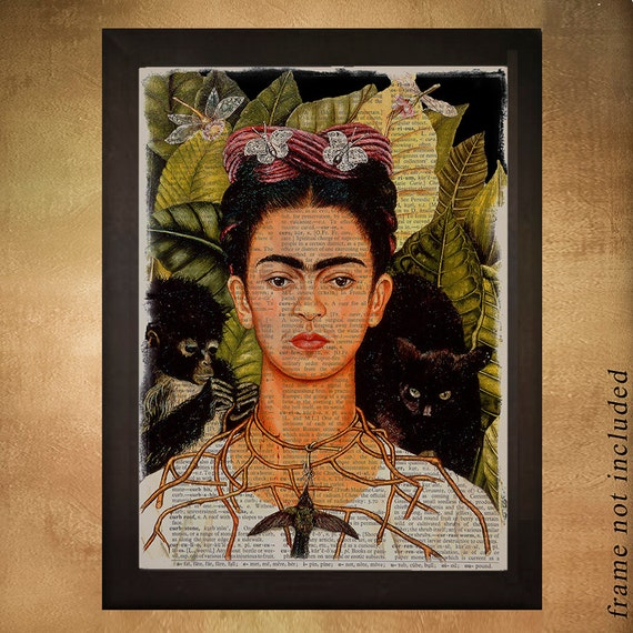 frida kahlo portrait dictionary art print kahlo decor monkeys frida kahlo mini cushion pillow home decor nursery