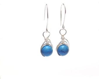Turquoise earrings,  blue earrings,  silver earrings,  wire wrap earrings,  turquoise wire earrings