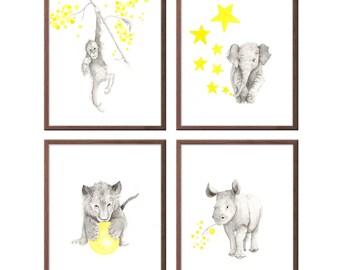 Baby Animal Nursery Art Prints, Animal Wall Art, Baby Boy Nursery Decor, Rhino, Lion, Elephant, Orangutan Art, Watercolor Nursery Art - S439