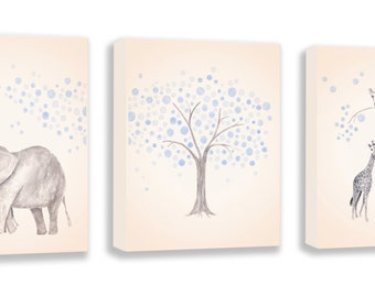 Kids Elephant Painting, Kids Wall Art, Boys Art, Watercolor Wall Art, Baby Art, Set Of Three Gallery Wrapped Canvases - SO83BC