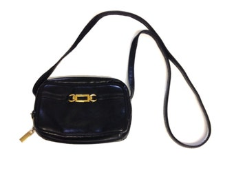 Dark Blue Faux Leather Classic Shoulder Bag