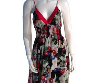 Floral Strappy Summer Dress - Made in USA - Size Medium