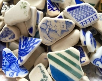 Surf Tumbled Ceramic Pottery Pieces - Crafting - Jewelry - 10 Pieces