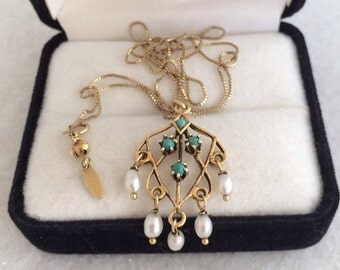 14K Gold Lavalier Genuine Pearl Dangles & Turquoise Seeds Feminine   Necklace Casual Elegance Beautiful Antique / Vintage 585 Gold Box Chain