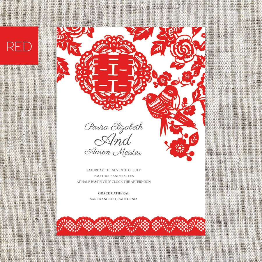 Chinese Wedding Invitations Nyc: DIY Printable Editable Chinese Wedding Invitation RSVP By