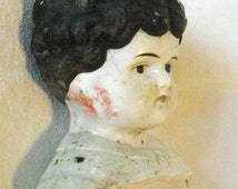 """Large Antique Low Brow China Head Doll Marked """"PATAPPD FOR GERMANY for parts or Restoration 5 1/2"""" tall Black molded hair In: Junk Mans Gal"""