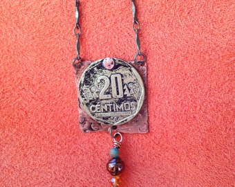 Peruvian coin, copper necklace