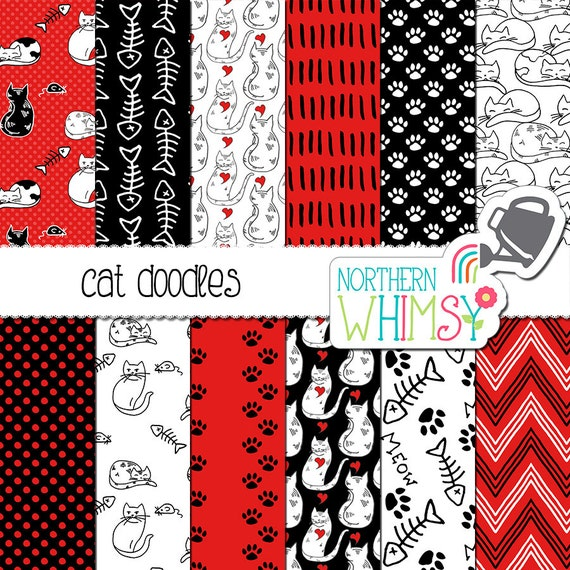 Cat Doodle Paper from Northern Whimsy Design