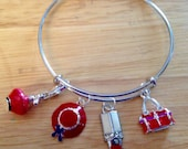 Red Hat Society - Club - Group - Women's Expandable Bangle Bracelet with Charms