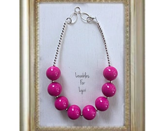 Solid Dark Hot Pink Jumbo Adjustable Chunky Baby Toddler Girls Bubblegum Necklace