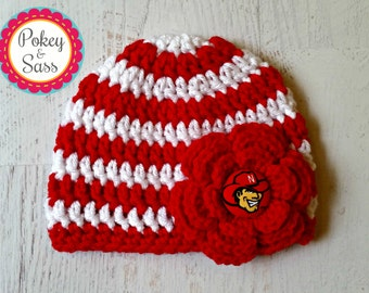 University of Nebraska Striped Crochet Baby / Toddler Hat Beanie, Huskers, Nebraska baby hat, Nebraska toddler hat