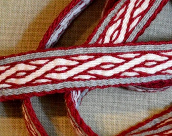 Tablet Woven Braid (Belt, Trim) Based on Birka Finds, Viking Tablet Weaving, Card Woven Medieval Braid, Viking Costume, Natural Wool