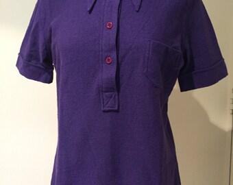 Vintage Krizia Maglia 48 IT Purple cotton polo top short sleeves 1970s long collars NWT