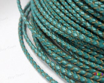 3mm Round Teal Bolo Leather Cords, 3mm Woven Braid Bracelet Leather BP3M55