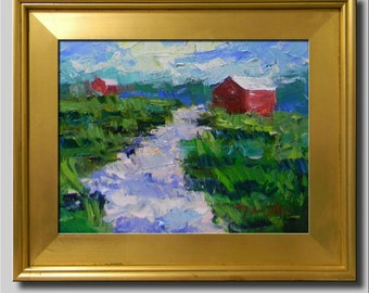 Plein Air Landscape Painting, Impressionist Oil Painting, Landscape, House Painting, Red Barn Painting, Abstract Painting