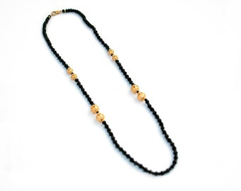 Long Black Agate Necklace, Gold Filigree Ball Necklace, Black Bead Necklace