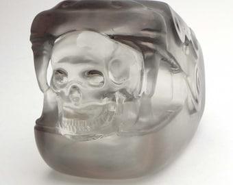 Quartz crystal skull, Mayan god Kukulkan sculpture, human skull sculpture