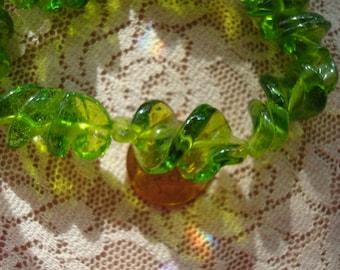 10 Lampwork Hand-Made Spring Green Twisted Glass Beads. 28x16. Beautiful BIG Translucent Sun Catcher & Dangle Beads. ~USPS Ship Rates*Oregon