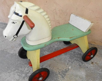 1950s Wood Ride on Horse Meco