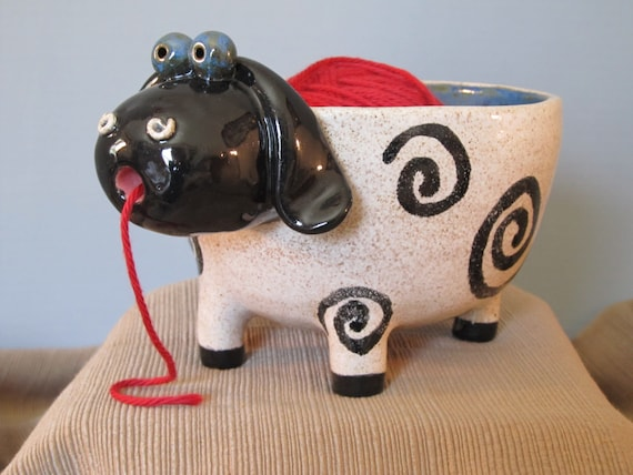 Knitting Bowl Nose : White sheep with a black face yarn bowl by prpotterystudio