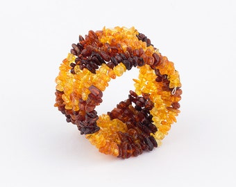 Natural Genuine Baltic Amber Adult Memory Wire Beaded Wrap Bracelet