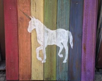 Gorgeous Rainbow Unicorn Wood Sign