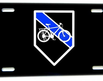 Blue Line Bicycle License Plate