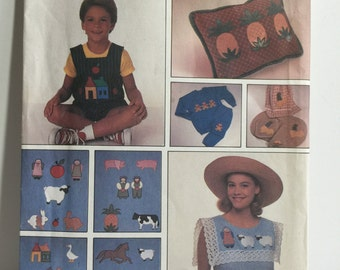 1989 Simplicity Crafts 9078 Applique Patterns and Instructions, Sewing Pattern, Sheep, School House, Rooster,Cat, Dog, Horse, Sheep, Flowers