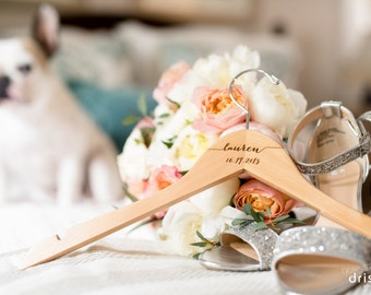 Bridesmaid Hangers - Bride Bridal Engraved Wooden hanger - Calligraphy engraved wood