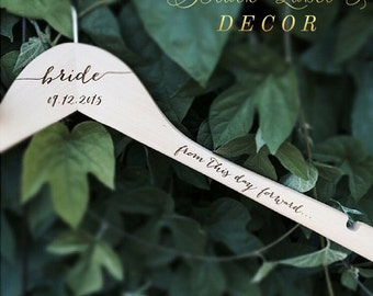 Personalized Engraved Bride Hanger - From this day forward Engraved Wooden Bridal Hanger -  Bridal Shower Gift - Wedding dress hanger