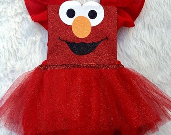 Red character inspired romper with tutu