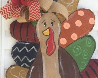 Thanksgiving Turkey Burlap Door Hanger - Earth Tones