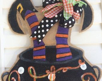 Halloween Witch in a Caldron Welcome Door Hanger