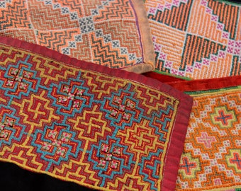 Hmong Embroidered Fabric Four Pieces