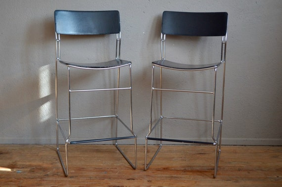 Italian Designer Bar Chairs Aarben Stool Black Leather And