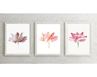 Lotus painting - flower watercolor - set of 3 Giclee Print -  Lotus Art - illustration lotus flower - Buddhism Zen Meditation