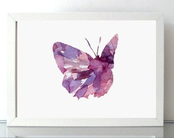 Butterfly Watercolor illustration - Giclee Print - Nursery Room Art - Purple pink - Animal Painting - Insect Art- Wall decor