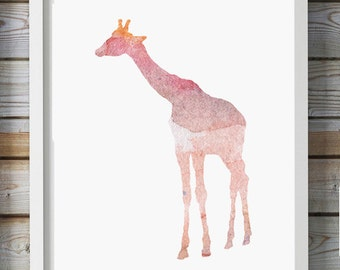 Giraffe Watercolor illustration - Giclee Print - pink Home decor - Nursery Animal Painting - Giraffe Painting Giraffe Art baby girls room