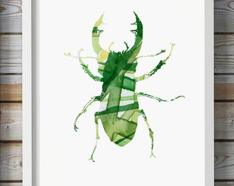 Stag Beetle Watercolor Painting - Giclee Print - Green Yellow Home decor - Insect Art - Animal Watercolor illustration - Aquarelle