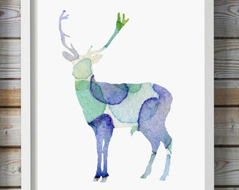 Deer Watercolor Painting - Fine Art Print - Nursery art - Blue Green illustration - Home Decor Wall Decor - Animal Painting - Deer Art