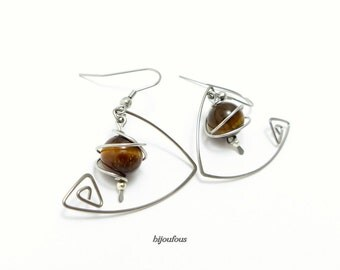 Tiger eye, steel and natural stones earrings