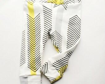 Organic Cotton Knit white yellow arrow,geometric,black Baby girl,Infant,Toddler leggings,pants,photo prop,newborn take home outfit