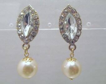 Pearl Rhinestone Earring, Pearl Earring, Pearl Crystal Earring, Rhinestone, Pearl Dangle, Pearl Drop, Bride, Bridesmaid, Wedding, Gold